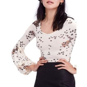 FREE PEOPLE Ivory Floral Flared Sleeves Top NWT L